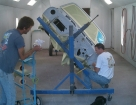 Body on Rotisserie for Primer in Paint Booth